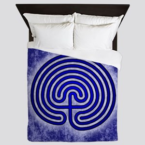 Blue Meis Galicia Labyrinth Queen Duvet