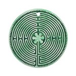 Green Chartres Cathedral Labyrinth Round Ornament