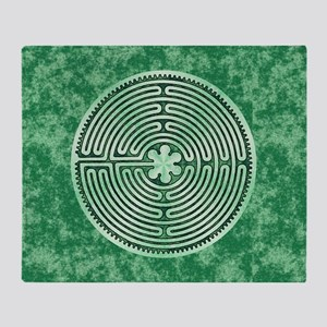 Green Chartres Cathedral Labyrinth Throw Blanket