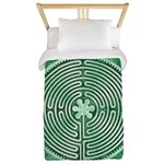 Green Chartres Cathedral Labyrinth Twin Duvet