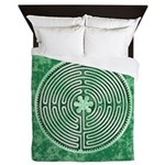 Green Chartres Cathedral Labyrinth Queen Duvet