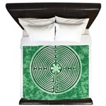 Green Chartres Cathedral Labyrinth King Duvet