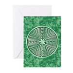 Green Chartres Cathedral Labyrinth Greeting Cards