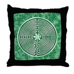 Green Chartres Cathedral Labyrinth Throw Pillow