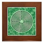 Green Chartres Cathedral Labyrinth Framed Tile