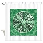 Green Chartres Cathedral Labyrinth Shower Curtain
