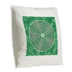 Green Chartres Cathedral Labyrinth Burlap Throw Pi