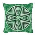 Green Chartres Cathedral Labyrinth Woven Throw Pil