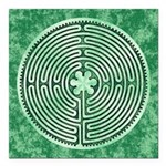 Green Chartres Cathedral Labyrinth Square Car Magn