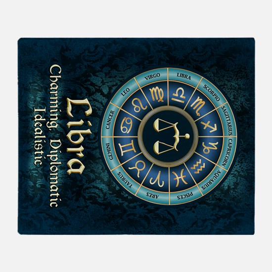 Libra Astrology Zodiac Sign Throw Blanket