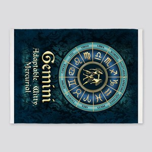 Gemini Astrology Zodiac Sign 5'x7'Area Rug
