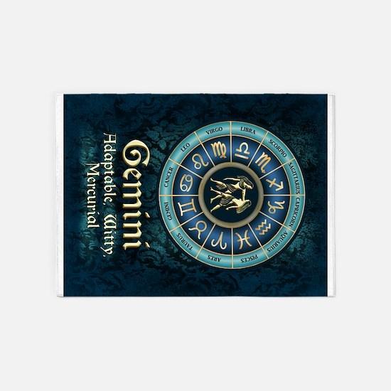 Gemini Astrology Zodiac Sign 5'x7'Area Rug