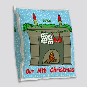 Our Nth Christmas Burlap Throw Pillow
