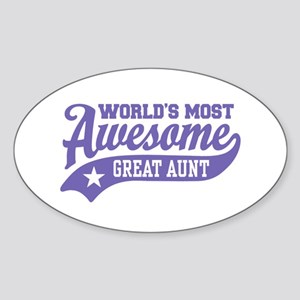 World's Most Awesome Great Aunt Sticker (Oval)