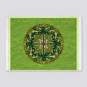 Green Celtic Dragonflies 5'x7'Area Rug