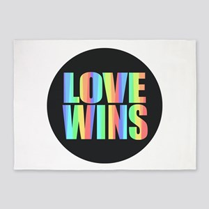 Love Wins Rainbow 5'x7'Area Rug