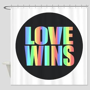 Love Wins Rainbow Shower Curtain