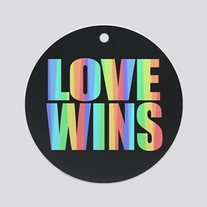 Love Wins Rainbow Round Ornament