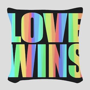 Love Wins Rainbow Woven Throw Pillow