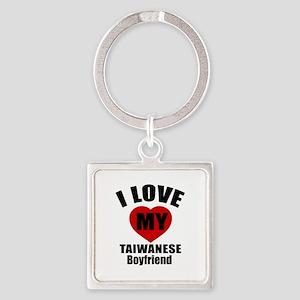 I Love My Taiwan Boyfriend Square Keychain