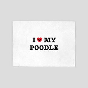 I Heart My Poodle 5'x7'Area Rug