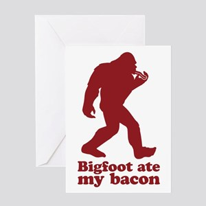 Bigfoot (Sasquatch) ate my bacon! Greeting Cards