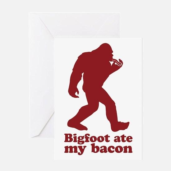 Bigfoot (Sasquatch) ate my bacon! Greeting Cards