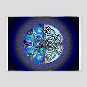 Celtic Chinese Dragons Blue and Black 5'x7'Area Ru