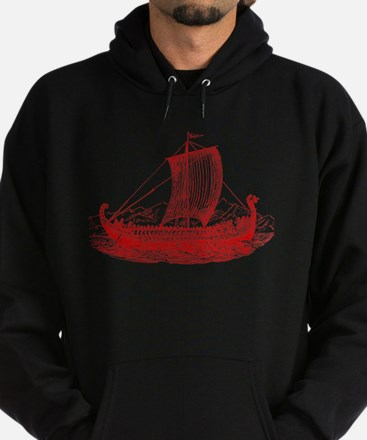 Cool Vintage Viking Ship Design Hoodie (dark)