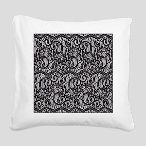 Black Lace Square Canvas Pillow