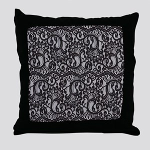 Black Lace Throw Pillow