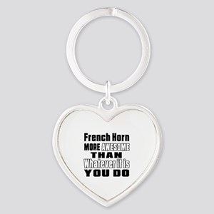 French Horn More Awesome Heart Keychain