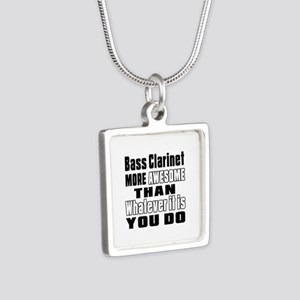 Bass Clarinet More Awesome Silver Square Necklace