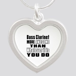 Bass Clarinet More Awesome Silver Heart Necklace
