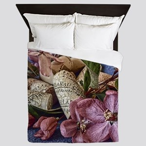 Apple blossom and wine corks Queen Duvet