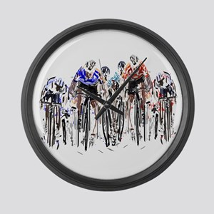 Cyclists Large Wall Clock