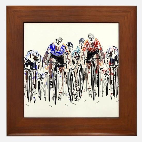 Cyclists Framed Tile