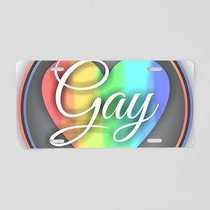 Gay Rainbow Heart Aluminum License Plate