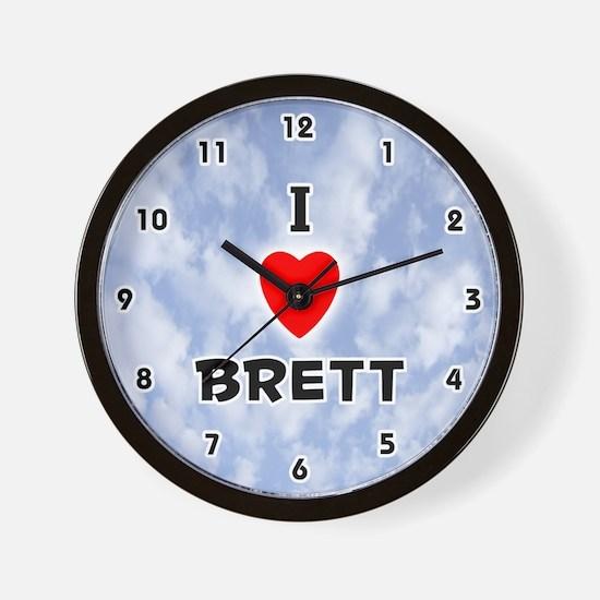 I Love Brett (Black) Valentine Wall Clock