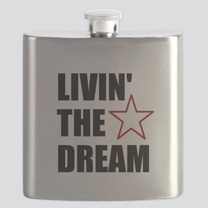 LIVIN' THE DREAM - black font Flask