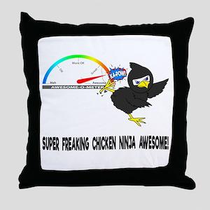 Chicken Ninja Awesome Throw Pillow