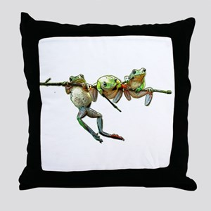 Hang in There Froggies Throw Pillow