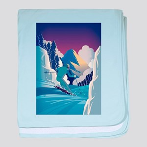 Graphic Skiing Down the Mountain baby blanket