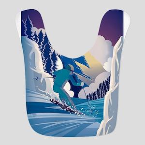 Graphic Skiing Down the Mountai Polyester Baby Bib