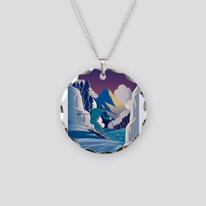 Graphic Skiing Down the Moun Necklace Circle Charm