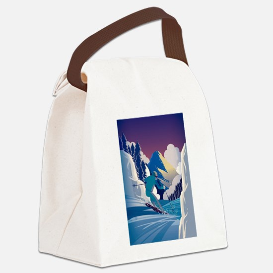 Graphic Skiing Down the Mountain Canvas Lunch Bag
