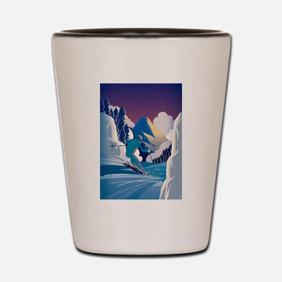 Graphic Skiing Down the Mountain Shot Glass