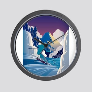 Graphic Skiing Down the Mountain Wall Clock