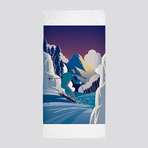Graphic Skiing Down the Mountain Beach Towel