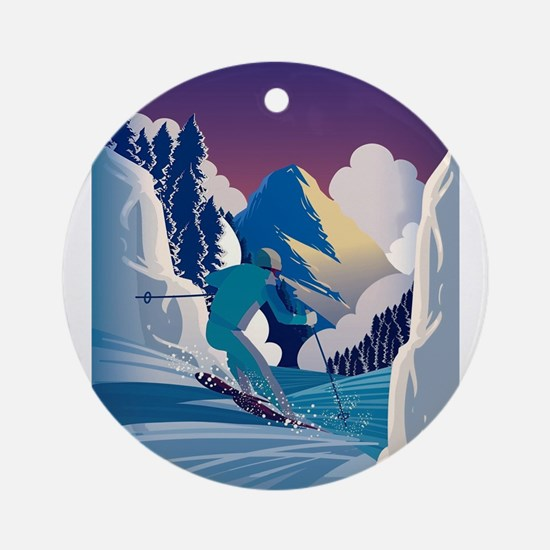 Graphic Skiing Down the Mountain Round Ornament